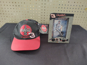 DALE EARNHARDT, SR. PHOTOGRAPH IN COLLECTIBLE FRAME & COCA COLA CHASE CAP