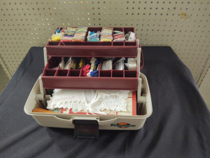 TACKLE BOX FILLED WITH CROSS STICH SUPPLIES