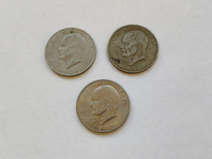 (3) LIBERTY EISENHOWER ONE DOLLARS (2 ARE 1971 AND 1 IS 1972)