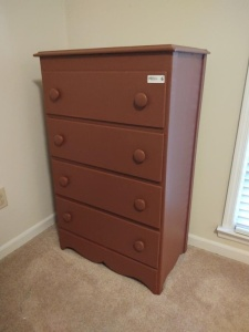 "WOODEN CHEST OF DRAWERS (28"" X 16.5"" X 44 1/2"")"