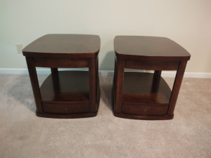 "(2) MATCHING WOODEN END TABLES (24"" X 27"" X 24"")"