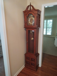 "BADUE GRANDFATHER CLOCK (WORKING CONDITION UNKNOWN) (18"" X 10.5"" X 6'10"")"