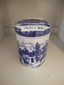 VINTAGE VICTORIA WARE COVERED CANISTER