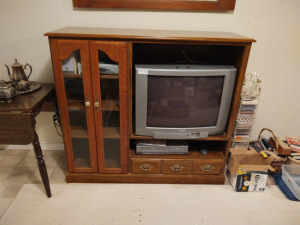 "WOODEN ENTERTAINMENT CENTER WITH TELEVISION, STEREO/CD PLAYER & DVD/VHS PLAYER (84"" X 18"" X 48"")"