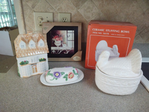 COOKIE JAR, BUTTER DISH, CERAMIC TURKEY STUFFING DISH & TRIVET