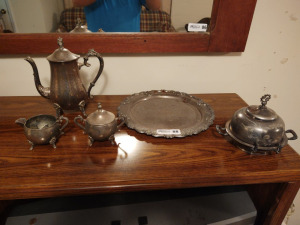 VINTAGE SILVER PLATED PLATTER, TEA SET & BUTTER DISH
