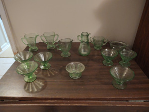 ALL VINTAGE GREEN DEPRESSION GLASS:  (2) CREAM & SUGAR SETS, (2) PITCHERS, (6) NON-MATCHING SHERBET CUPS & SMALL FOOTED BOWL