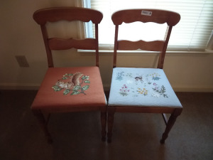 (2) Dining Chairs With Needlepoint Seats