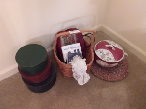 Woven Handled Basket With Contents, (3) Vintage Hat Boxes & Handled Pot With Lid