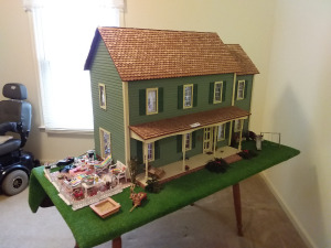 Large Fully Furnished Doll Playhouse With Accessories