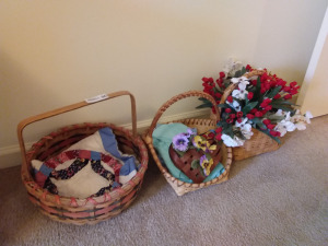 (3) Baskets with Floral Arrangements With Matted & Framed Needlepoint