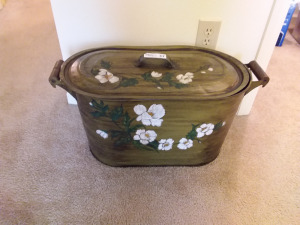 Floral Painted Tote With Handled Lid