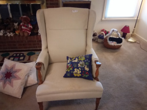 Upholstered Wingback Armchair With Pillows