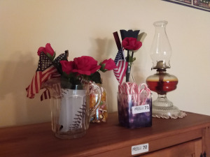 Oil Hurricane Lamp, Pitcher With Hand-Held American Flags