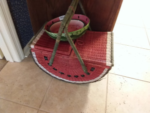 Watermelon Shaped Picnic Basket With Watermelon Bowl