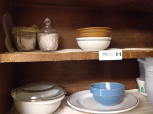 Contents Of Kitchen Cabinet:  Cups, Bowls, Creamer & Sugar Set & Plastic Storage Bowls