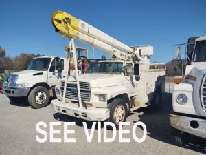 1985 FORD BUCKET TRUCK; VIN# 1FDWK74N2FVA73008; 234,658 MILES (TITLE IS NOT REQUIRED).  BILL OF SALE ONLY.  See video below.