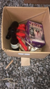 Contents Of Bookcases (#8):  Beer Making Kit With Bottles, Industrial Extension Hose, Plastic Refillable Bottle, Books & Miscellaneous