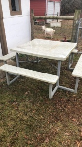 Picnic Table With Metal Base