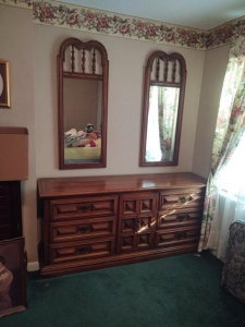 "Vintage Wooden Dresser With (2) Hanging Mirrors By Link-Taylor (Lexington, North Carolina); 6' x 19"" x 31"")"