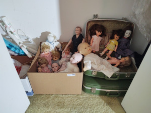 Contents Of Bedroom Closet:  Vintage Dolls, Porcelain Dolls, Luggage, Clothing & More
