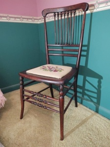 Vintage Wooden Chair With Needlepoint Seat