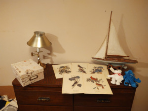 Vintage Brass Table Lamp, Bird Prints, Model Sailboat & File Boat