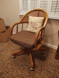 Wooden Rolling Office Chair With Woven Back