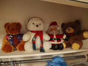 Stuffed Teddy Bears & Santa Claus