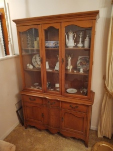 "Vintage Wooden China Cabinet With Contents; 45"" x 16"" x 69"""