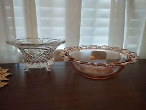 Lead Footed Candy Dish & Lattice Rim Pink Depression Serving Bowl