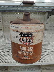 5-Gallon Can Vintage MFA SHO-ME Motor Oil