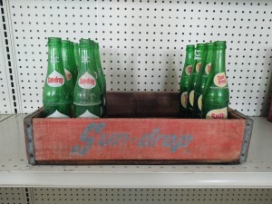Vintage Wooden Sundrop Case With Glass Bottles