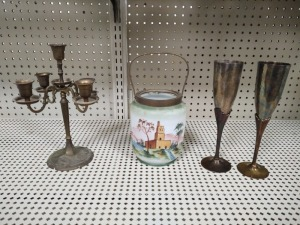 Silverplated Candelabra, (2) Silverplated Champagne Flute & Hand Painted Bucket