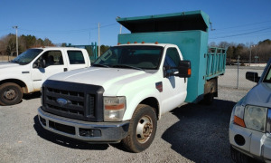 2008 FORD F-350 SUPER DUTY V8 POWERSTROKE  FLATBED DUMP TRUCK; VIN# 1FDWF36R28EB35748; (NEW ELECTRIC OVER HYDRAULIC BED LIFT)