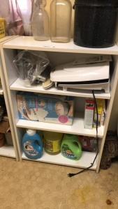 Shelf with contents; George Foreman grill, etc.
