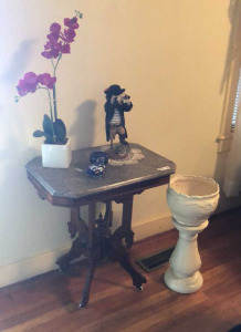 Rolling side table with contents & plant stand