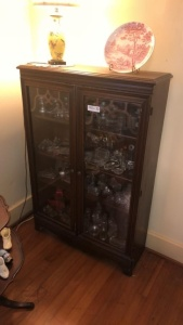 Cabinet with lamp & plate; contents inside not included