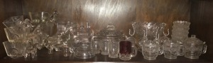 Clear Glassware:  Cups, Creamer, Punch Bowl , Buggies/Horses