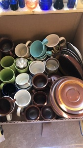 Box lot of mugs, etc.