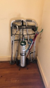 Oxygen tank with stand, walker, cane, grabbers for hard to reach items