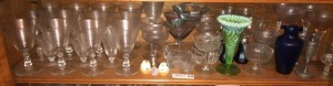 Stemware, Dessert/Fruit Cups, Opalescent Green Glass Vase & Cobalt Blue Vase