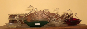Blown Glass Swan Candy Dishes (on top of cabinet)