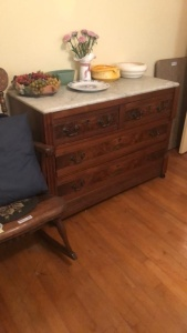 Marble Top Dresser; contents not included