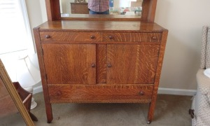 Vintage Tiger Oak Sideboard Buffet With Mirror