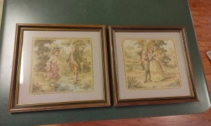 Pair Of Vintage Framed & Matted Tapestries