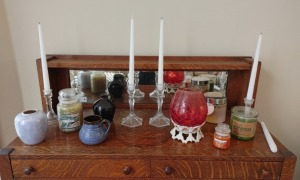 Assortment Of Candles, Candle Holders & Pottery