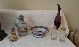 (2) Fired Pitchers, Vintage John Alcock Ironstone Footed Bowl, (2) Corked Bottles & Tall Ruby Handled Pitcher