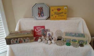 Cookie Tins, Vintage Glass Flower Frogs & More