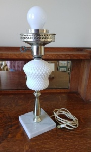 Hobnail Milk Glass Table Lamp With Marble Base